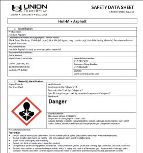 hot mix asphalt safety data sheet