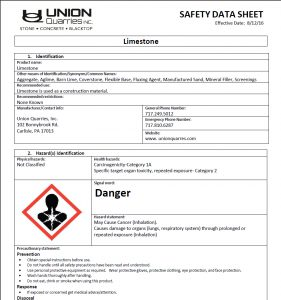 limestone safety data sheet