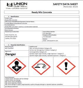 ready mix concrete safety data sheet
