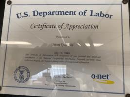 u.s. department of labor certificate of appreciation 2016